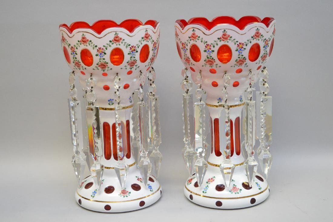 "Pair Victorian ruby cut glass lustres, 12""h"