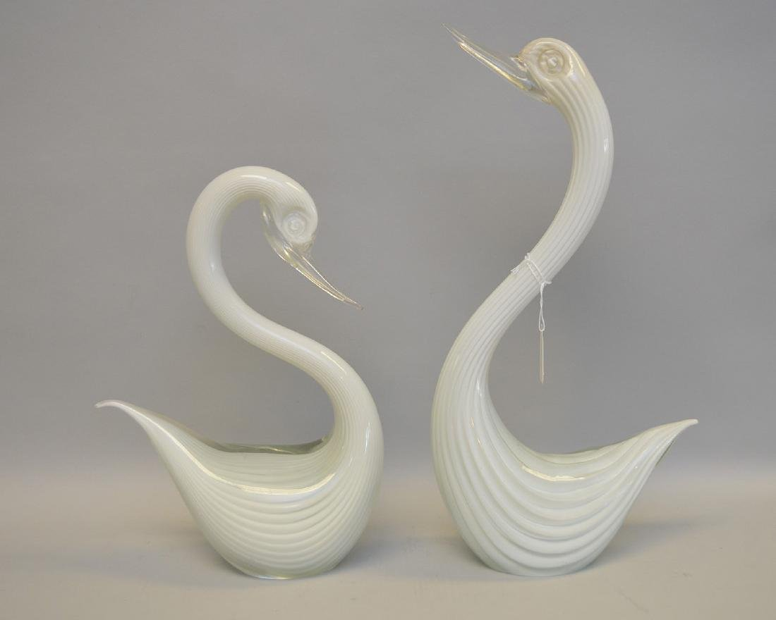 "Pair 1950's Murano glass swans, signed, 13""h"