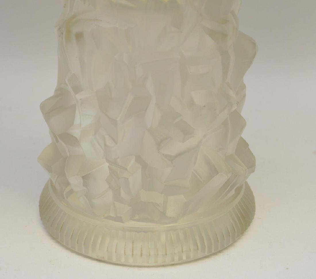 French Deco frosted art glass pedestal center piece, - 3