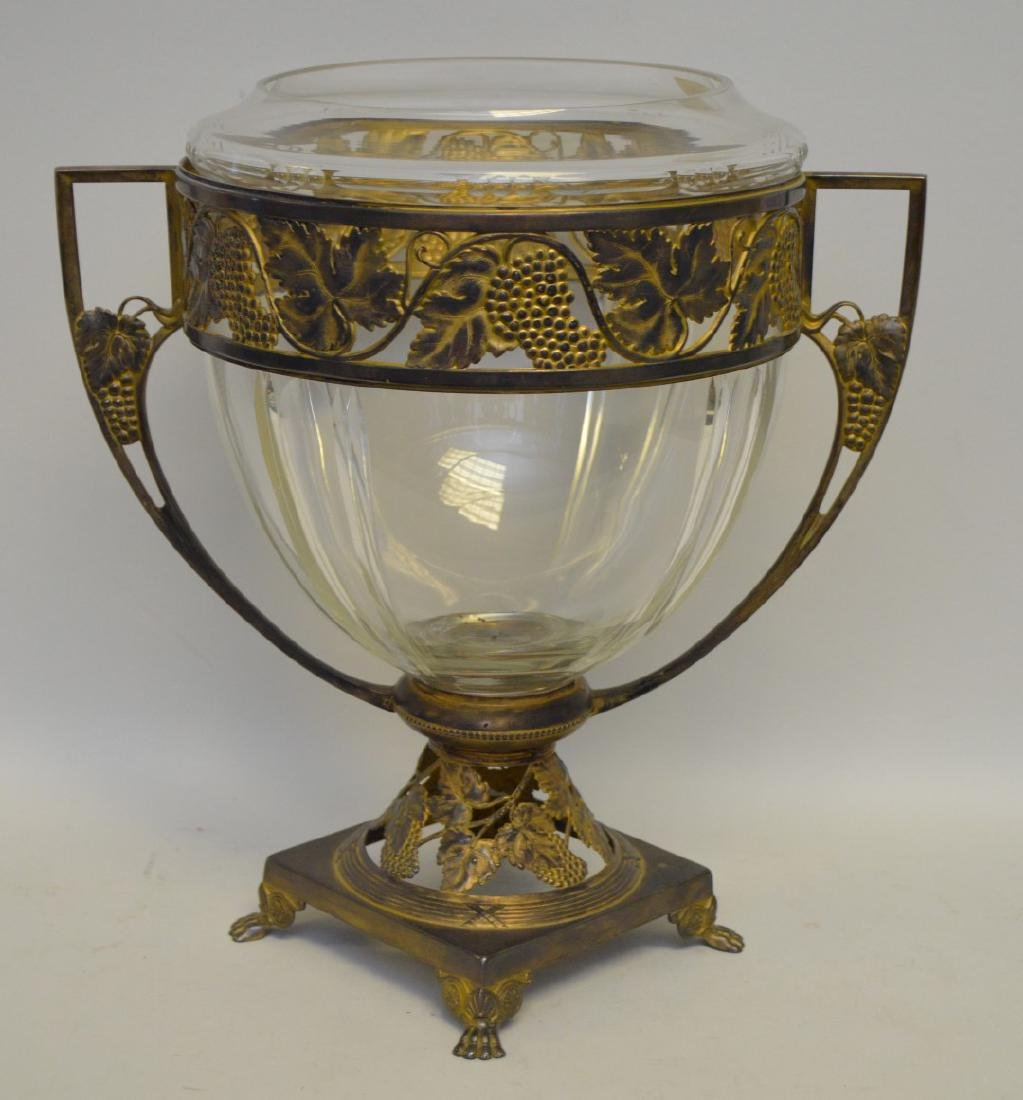 """Glass vase in brass frame with lion paw feet, 14""""h x"""