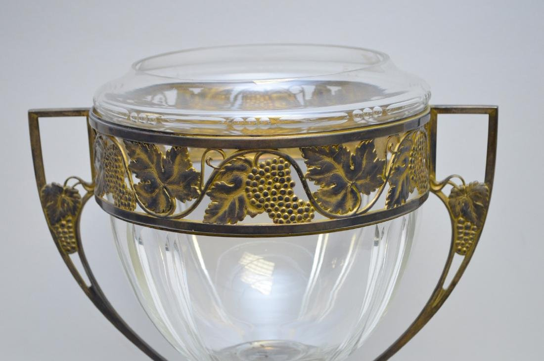 """Glass vase in brass frame with lion paw feet, 14""""h x - 2"""