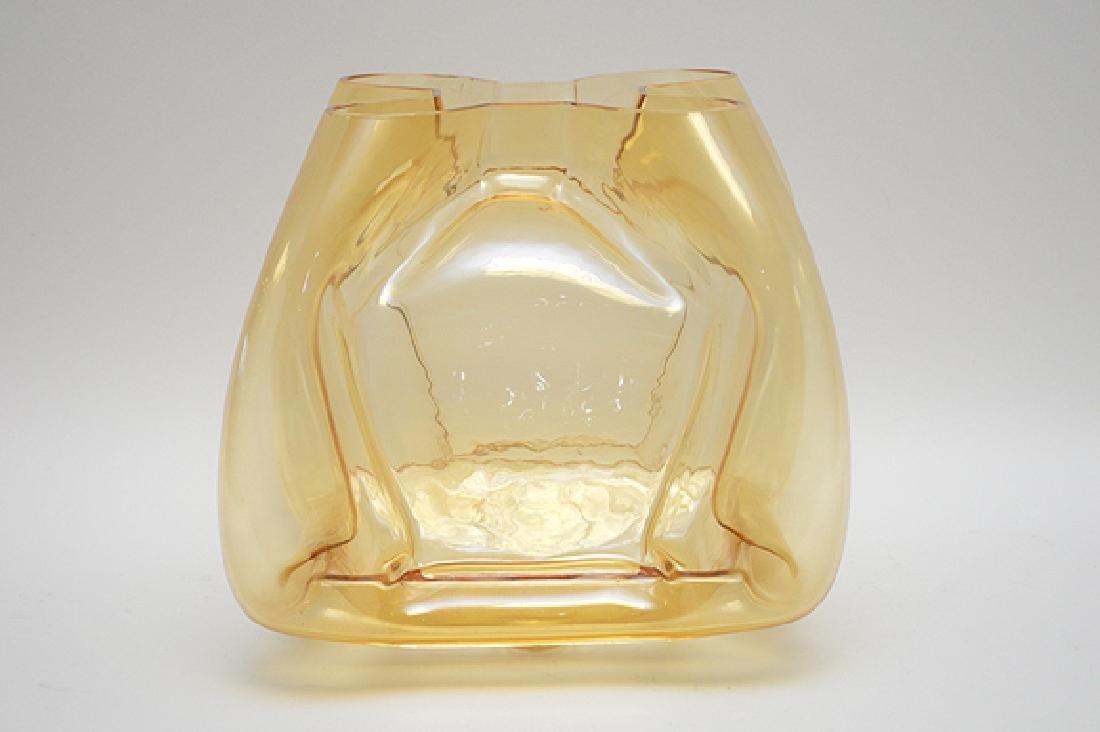 """Murano Quadro foil form vase, gold color, 11""""h"""