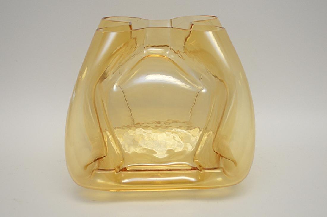 """Murano Quadro foil form vase, gold color, 11""""h - 2"""