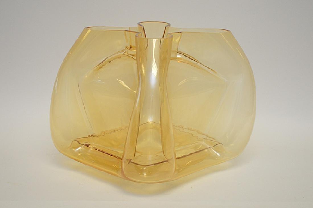 """Murano Quadro foil form vase, gold color, 11""""h - 3"""