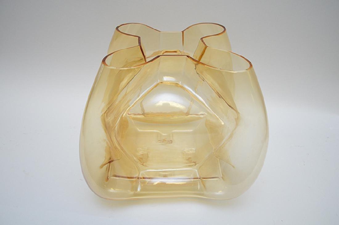 """Murano Quadro foil form vase, gold color, 11""""h - 4"""