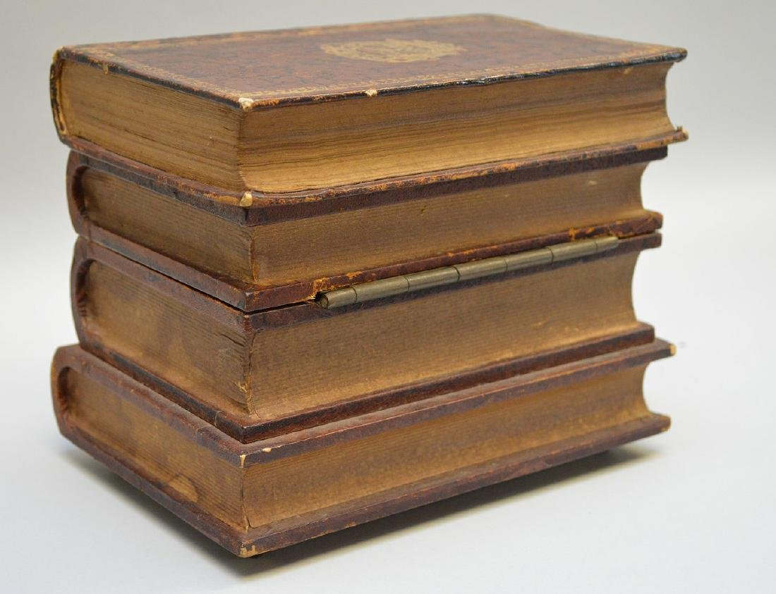 "Leather book bar, 6""h x 7""w (no shot glasses, music box - 5"