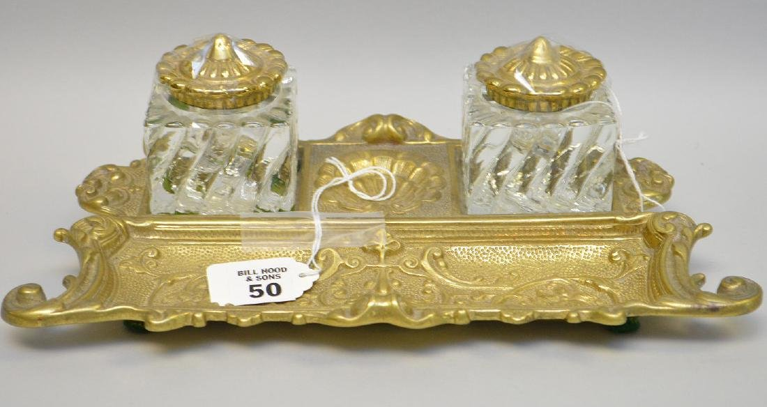 "Bronze & crystal ink stand, 3 1/2""h x 11 1/2""w"