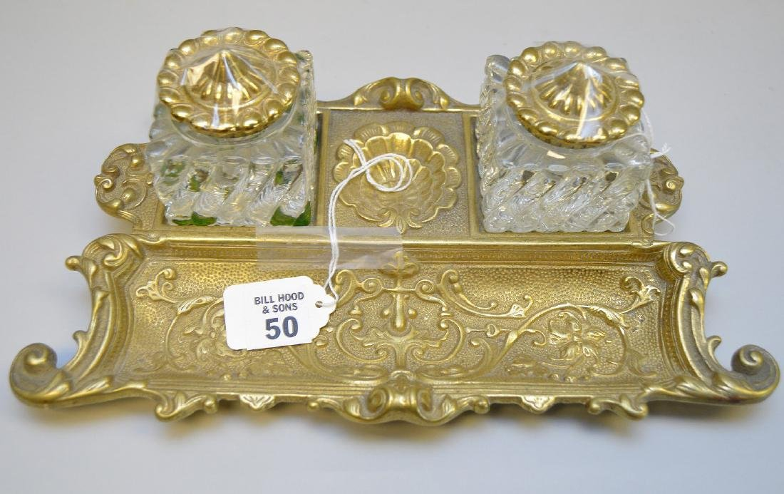 "Bronze & crystal ink stand, 3 1/2""h x 11 1/2""w - 2"