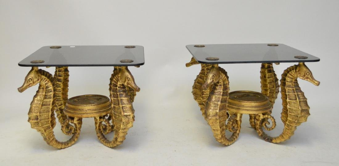 Pair gilded metal Seahorse occasional tables with smoke