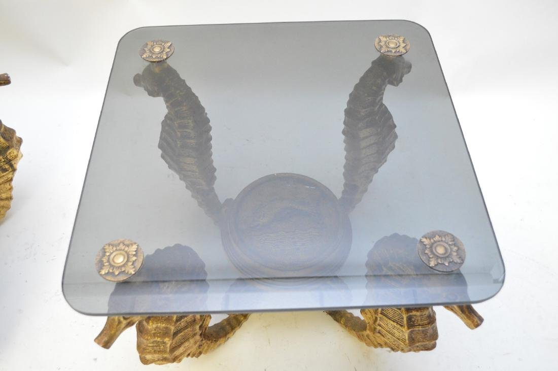 Pair gilded metal Seahorse occasional tables with smoke - 4