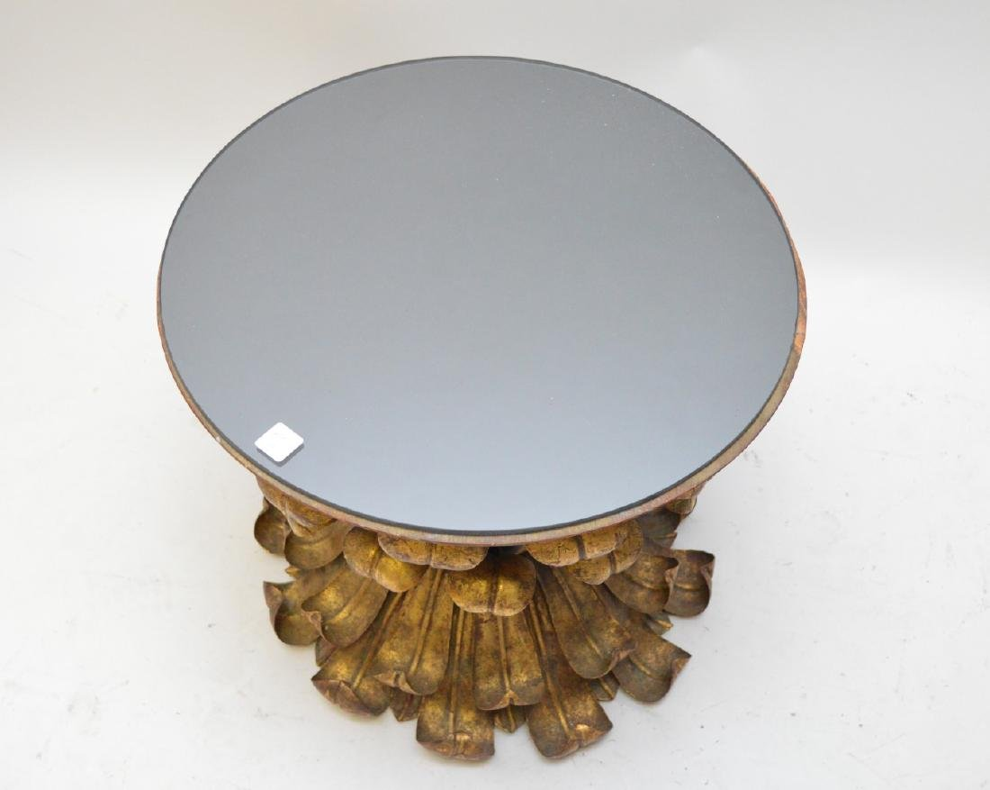 Gilt metal flower/leaf form occasional table with smoke - 3