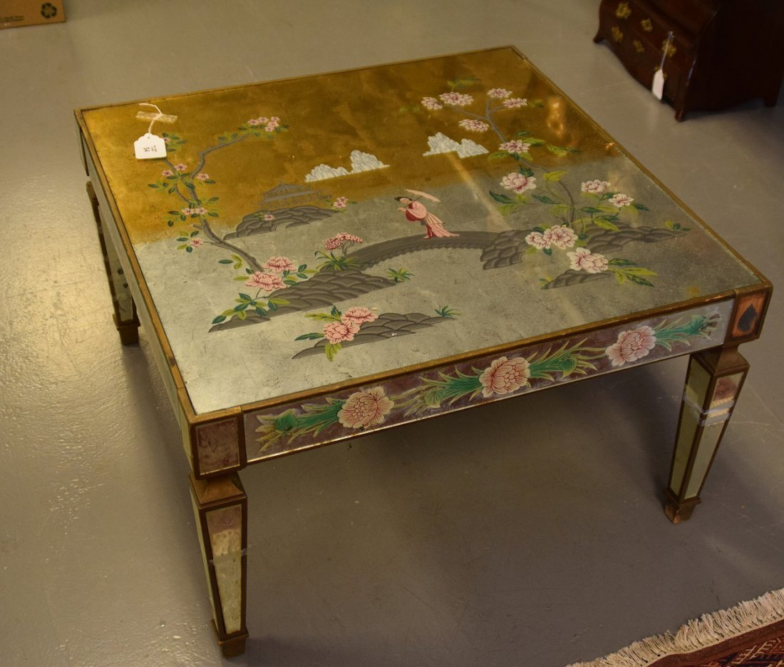 Vintage mirrored and reverse painted coffee table, gold