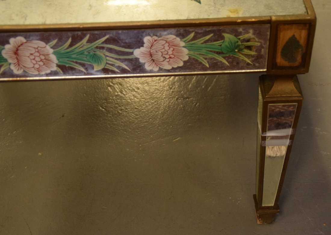 Vintage mirrored and reverse painted coffee table, gold - 3