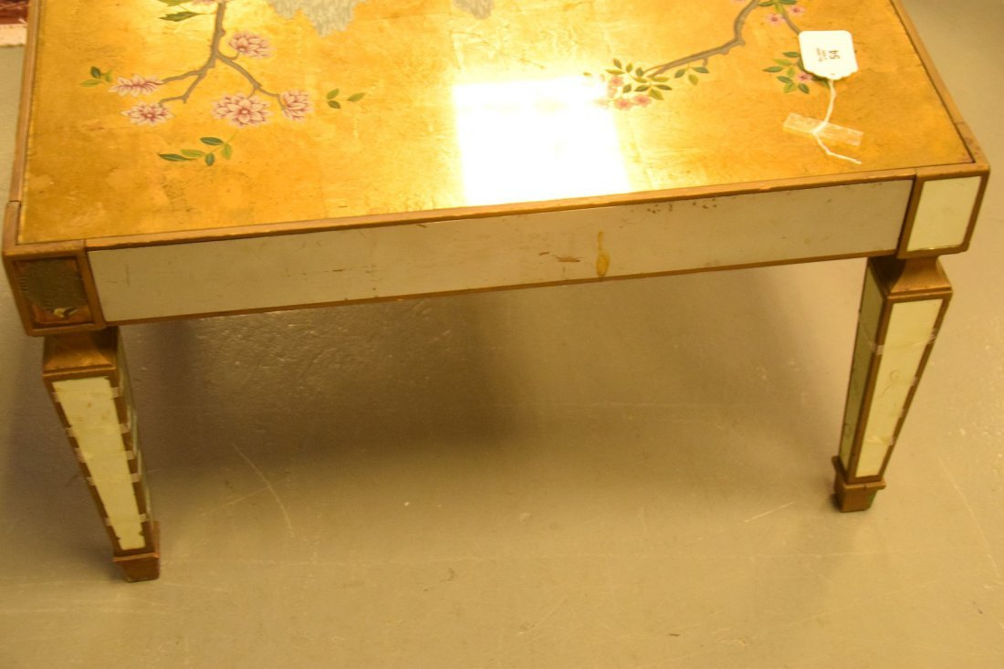 Vintage mirrored and reverse painted coffee table, gold - 4