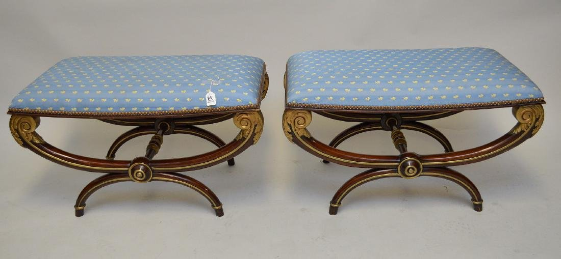 Pair Regency style curule stools, mahogany with gilded