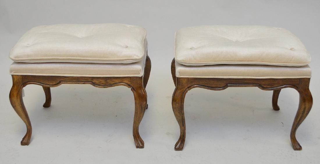 Pair Drexel pillow top fruitwood frame stools