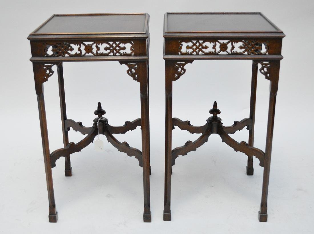 Pair mahogany oriental stands with fretwork frieze,