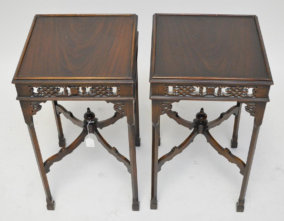 Pair mahogany oriental stands with fretwork frieze, - 2