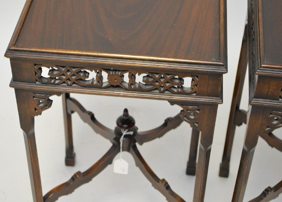 Pair mahogany oriental stands with fretwork frieze, - 3