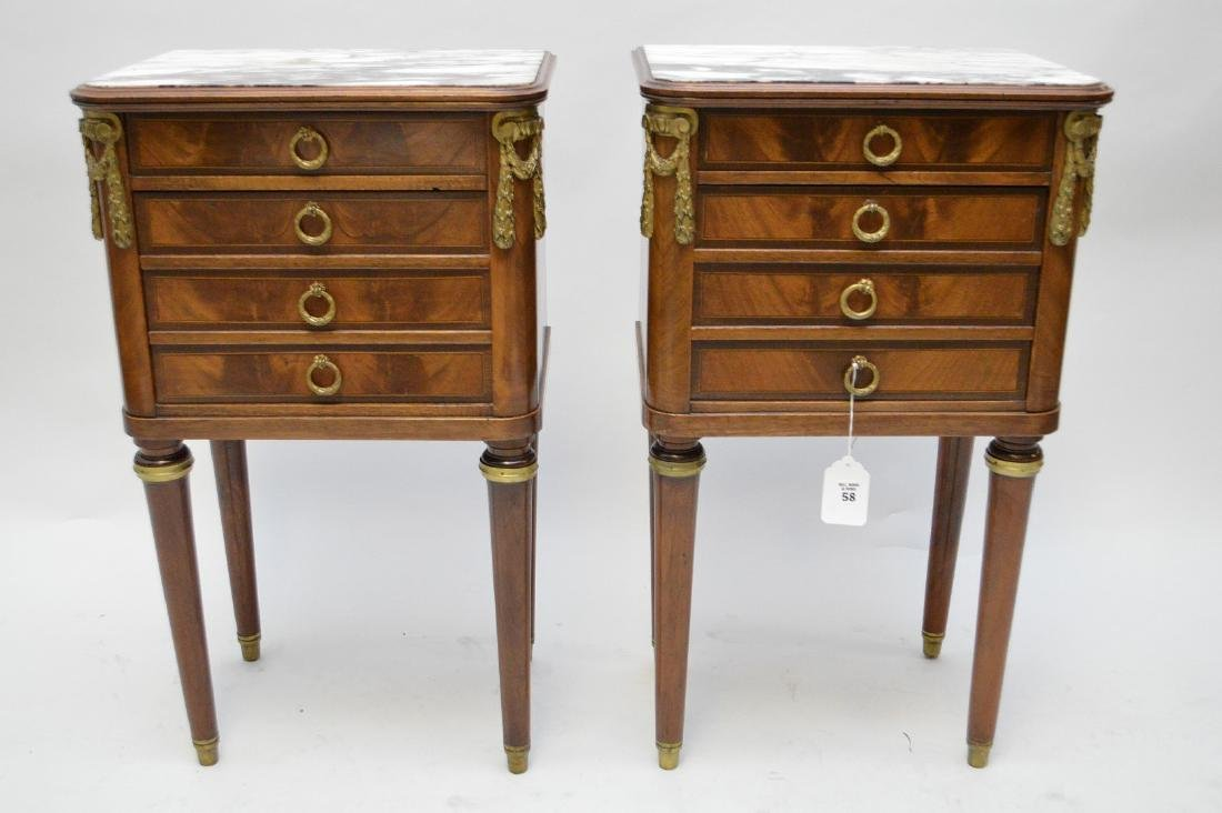 Pair French Empire style side table, ormolu mounts,