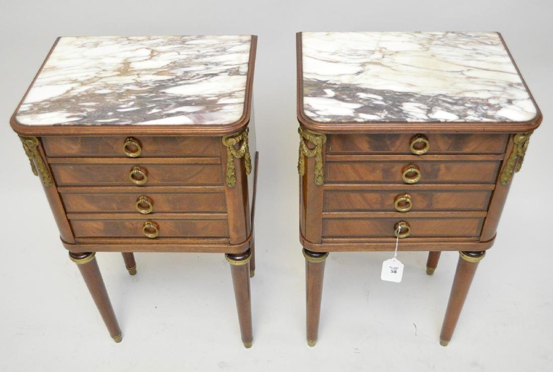Pair French Empire style side table, ormolu mounts, - 2