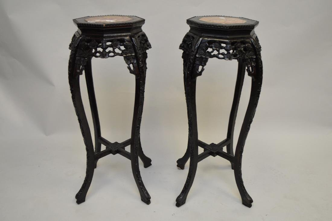 Pair Chinese octagonal pedestals with marble inserts,