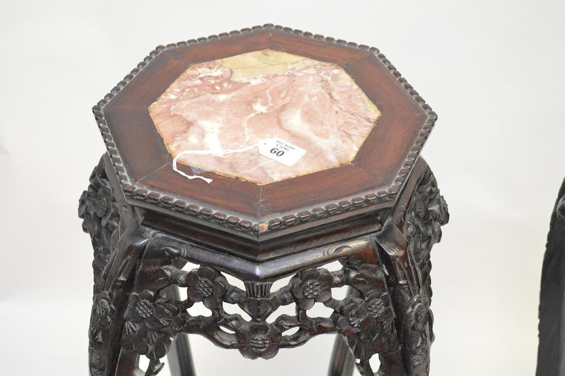 Pair Chinese octagonal pedestals with marble inserts, - 2