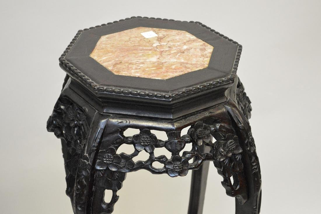 Pair Chinese octagonal pedestals with marble inserts, - 4