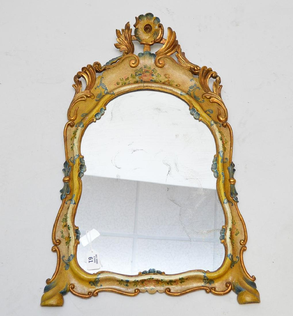 "Italian painted frame mirror, 29""h x 16""w"