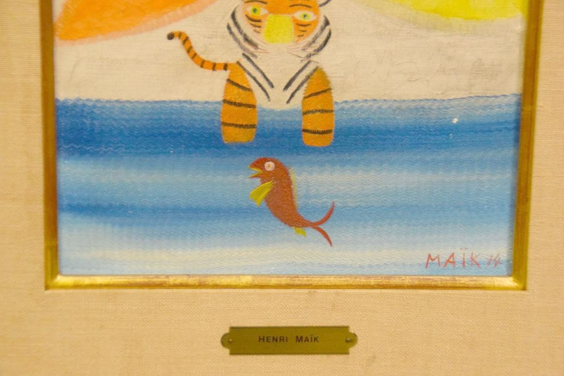 Henri Maik (FRENCH, 1922) oil on canvas, Tiger & Bird, - 3