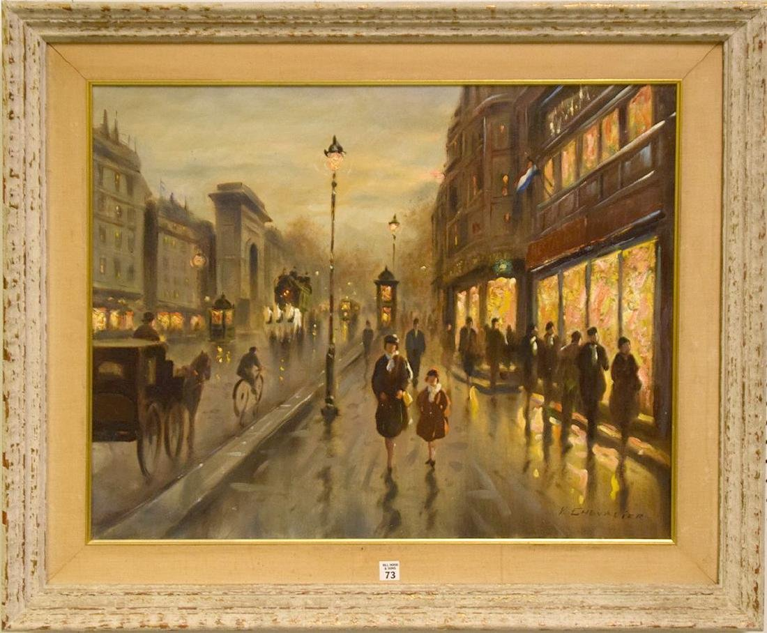 Paris Street Scene signed V.Chevalier, oil on canvas,