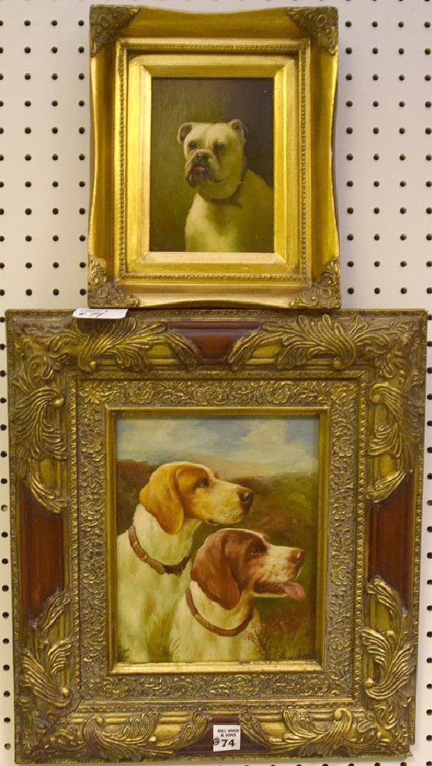 2 Dog Paintings, 20th century Decorative, one signed