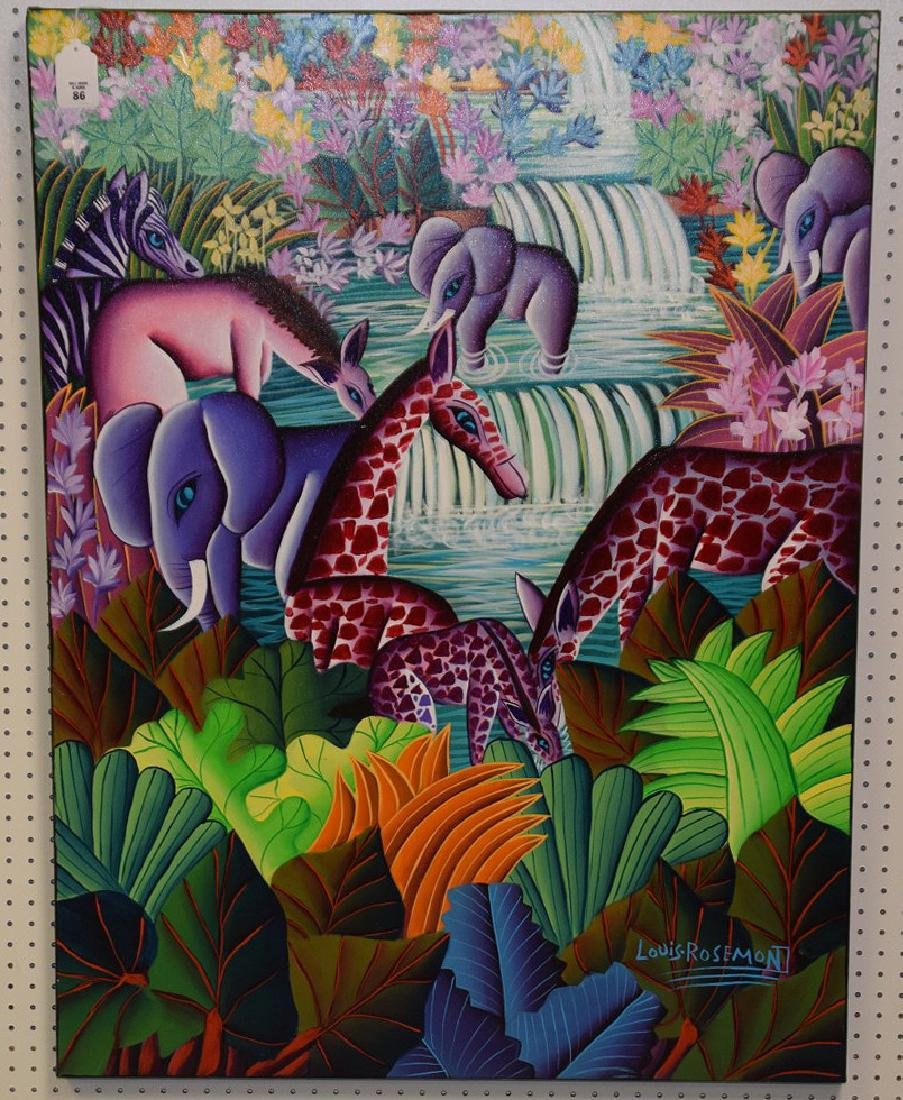 Louis Rosemond (HAITIAN, 1957) oil on canvas, Jungle