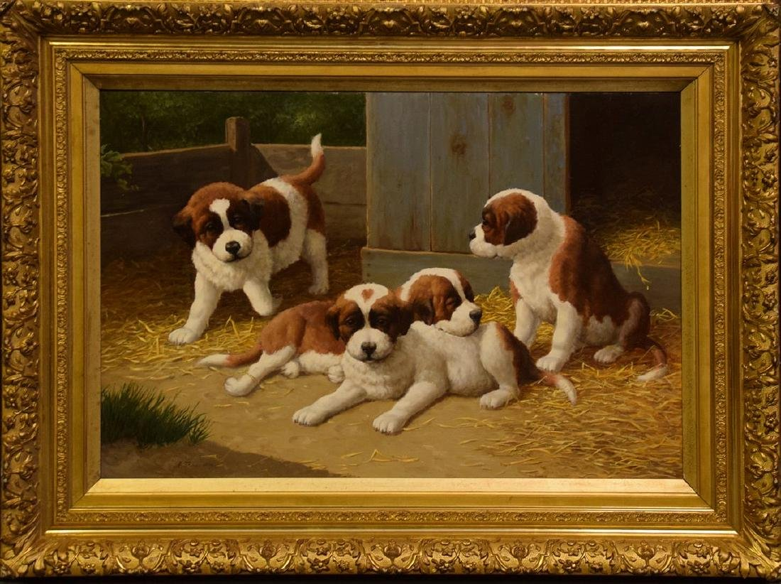 Anton Karssen, (Dutch, b. 1945) St.Bernard Puppies,