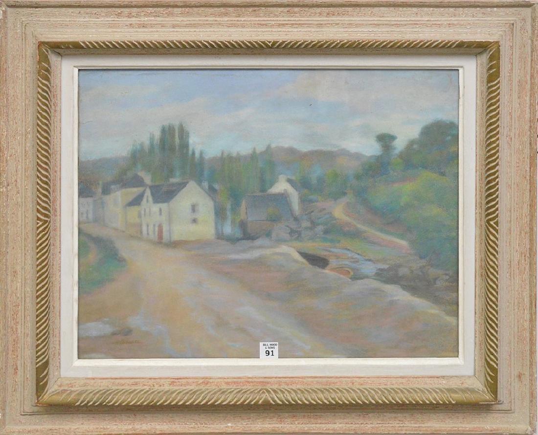 Henri Delavallée FRENCH Pastel houses Pont Aven