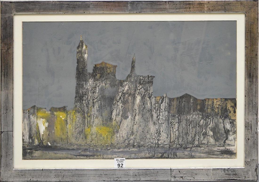 John S. Piper (b. 1946) mixed media, Cityscape, Modern