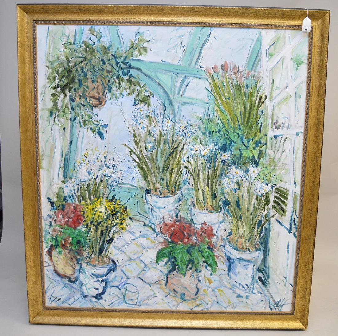 O.Alt, large oil on canvas, Green house plants and