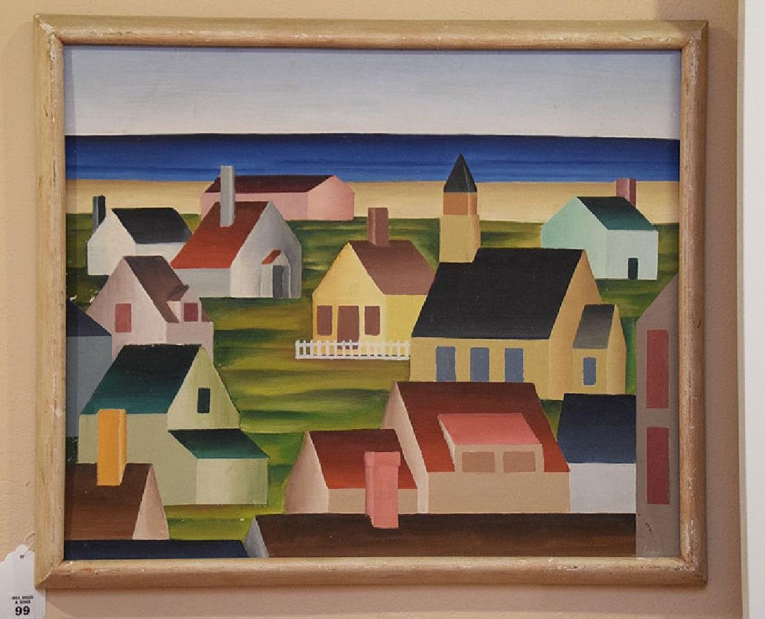 American School, oil on board, Provincetown Houses,