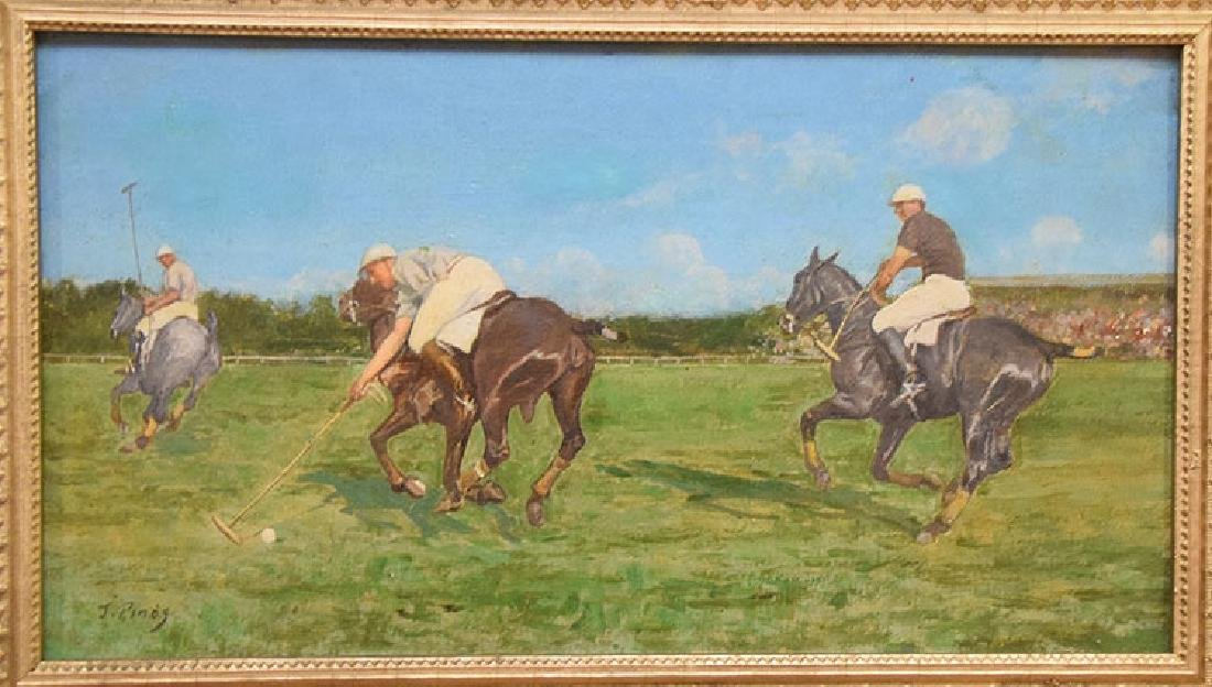Juan Pinos (SPANISH, 1862-1910) oil on board, Polo - 2