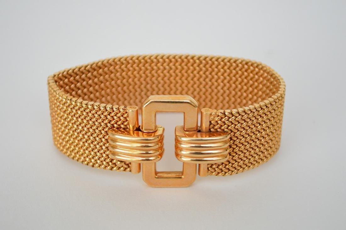 "18K Yellow Gold Mesh Style Bracelet.  Lth 8 3/8"""