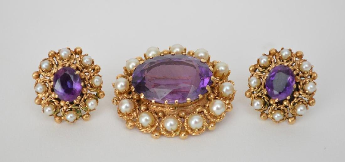 3 Piece 14K Yellow Gold Amethyst & Pearl Earrings & Pin