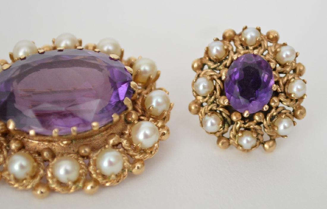 3 Piece 14K Yellow Gold Amethyst & Pearl Earrings & Pin - 2