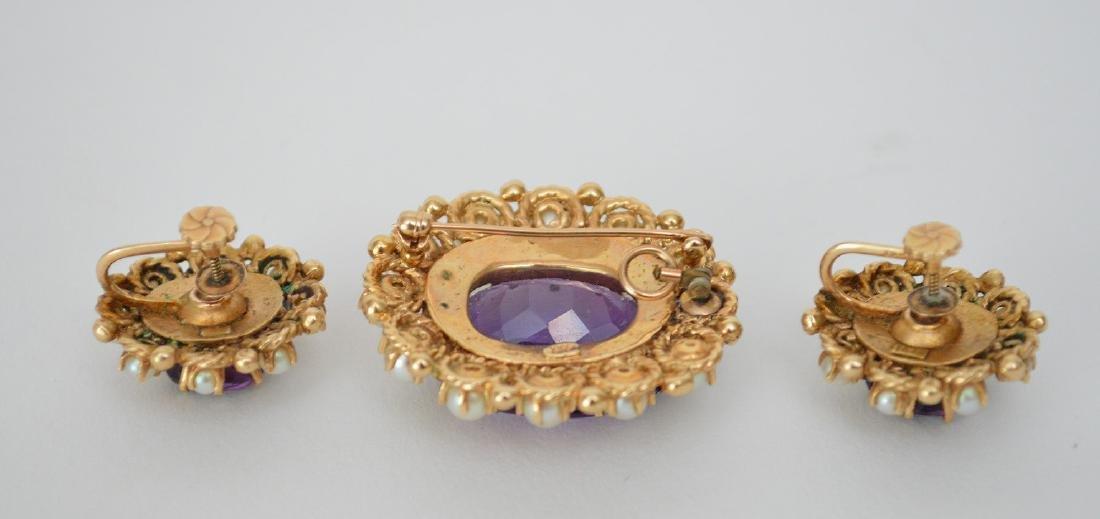 3 Piece 14K Yellow Gold Amethyst & Pearl Earrings & Pin - 4
