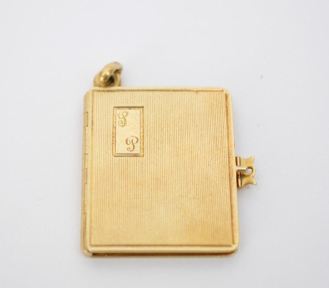14K Yellow Gold Ladies Book Form Locket.  Ht. 1 1/8""