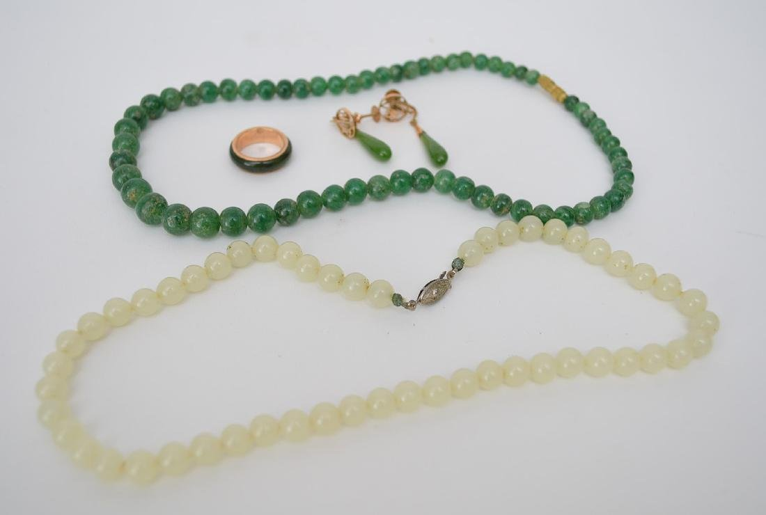 2 Jade Necklaces.  Together with 14K Yellow Gold & Jade