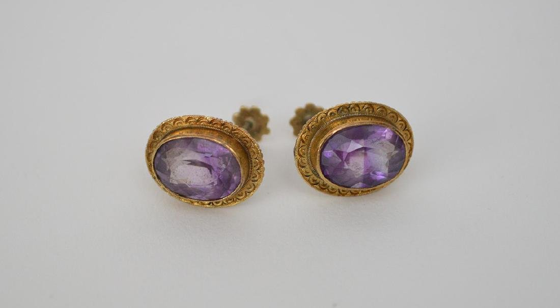 Pair 14K Yellow Gold & Amethyst Earrings.  Overall