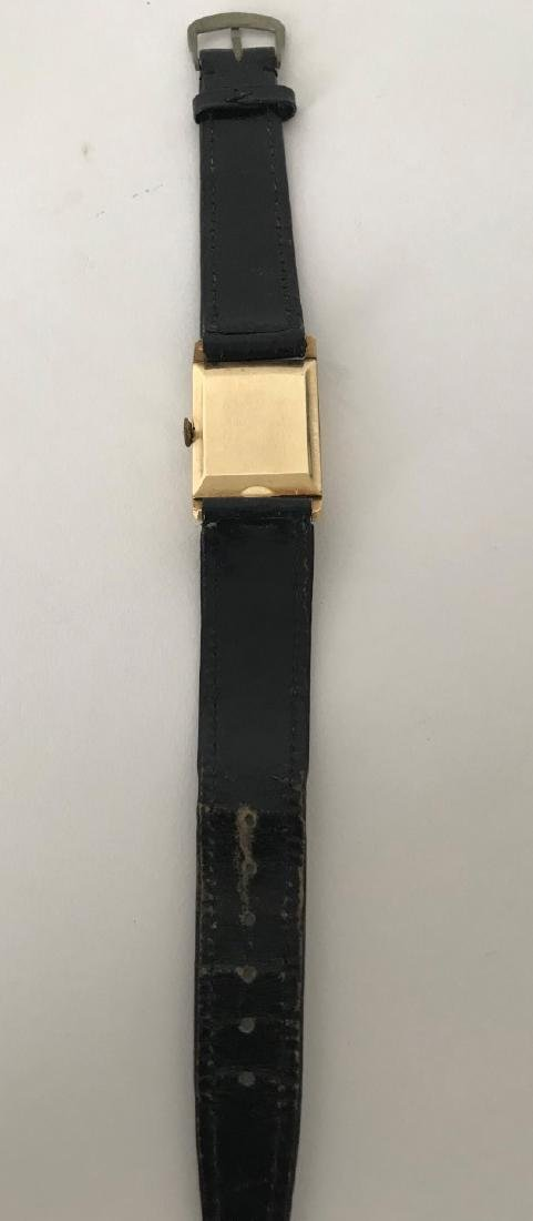 Men's 14K Yellow Gold Movado Watch with leather strap. - 2