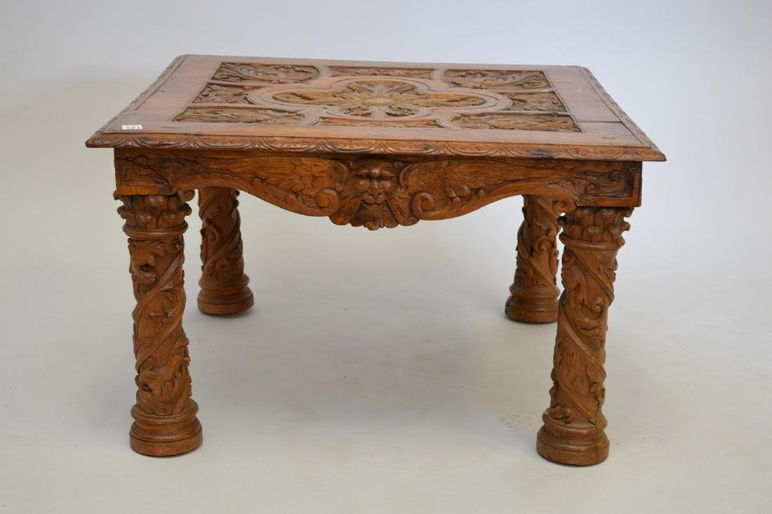 Carved walnut 19th c. table, carved masks on frieze,