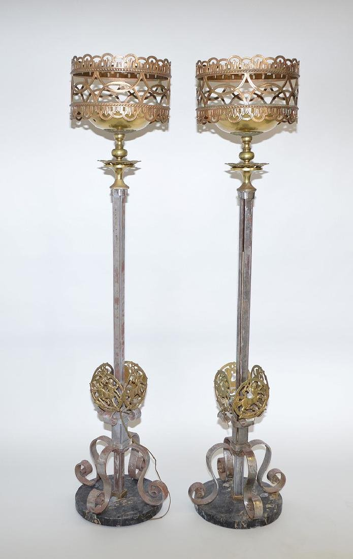 """Pair iron and gilt metal torcheres, circa 1900, 73""""h"""