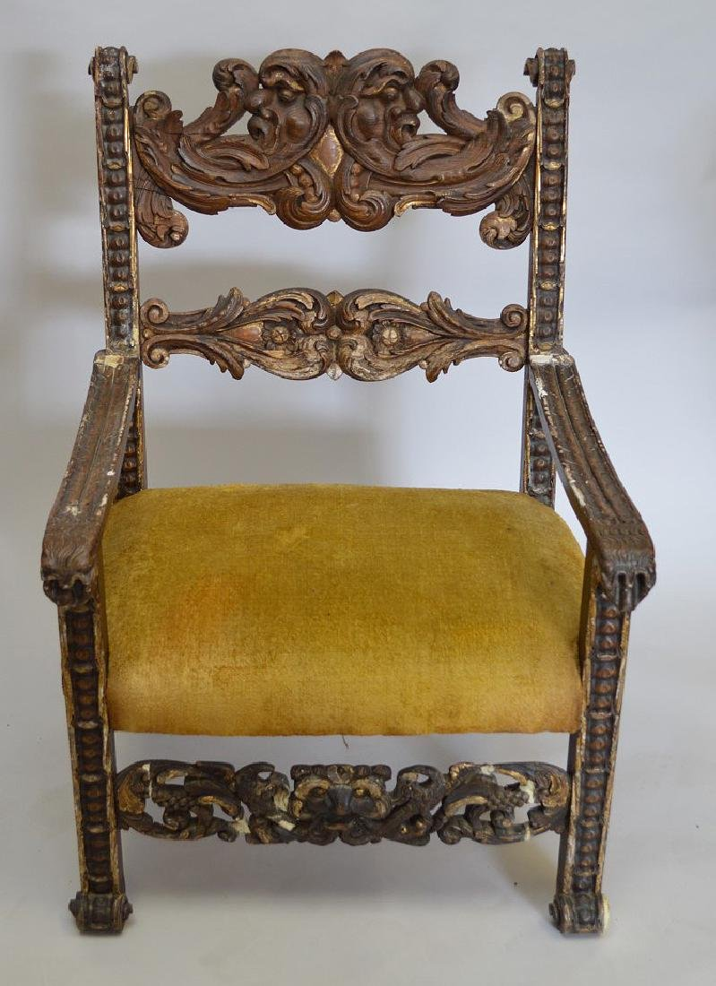 16/17th Renaissance arm chair, gold upholstery